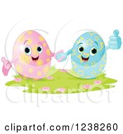 Clipart Of A Happy Easter Egg Couple Holding Hands Royalty Free Vector Illustration