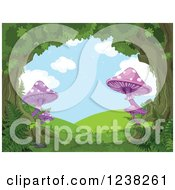 Clipart Of A Fantasy Forest Tree Canopy And Mushrooms Forming A Scene Of Hills Royalty Free Vector Illustration by Pushkin