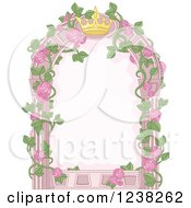 Clipart Of A Pink Princess Crown And Rose Vine Frame Royalty Free Vector Illustration by Pushkin