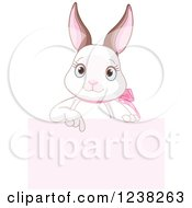Clipart Of A Cute White Easter Bunny Pointing Down To A Pink Sign Royalty Free Vector Illustration