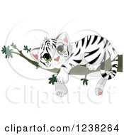 Clipart Of A Cute White Tiger Cub Resting On A Tree Branch Royalty Free Vector Illustration