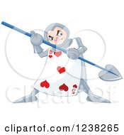 Clipart Of An Alice In Wonderland Heart Playing Card Guard With A Spear Royalty Free Vector Illustration
