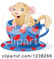 Cute Happy Dormouse Inside A Heart Patterned Tea Cup