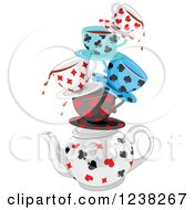 Clipart Of Stacked Dripping Tea Cups With Playing Card Suit Shapes Royalty Free Vector Illustration by Pushkin