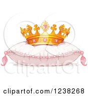 Clipart Of A Princess Crown On A Pink Pillow Royalty Free Vector Illustration by Pushkin