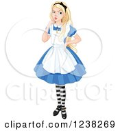 Clipart Of A Alice In Wonderland With A Confused Expression Royalty Free Vector Illustration by Pushkin