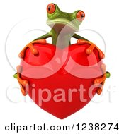 Clipart Of A 3d Green Springer Frog Hugging A Red Heart Royalty Free Illustration