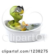 Clipart Of A 3d Tortoise Wearing Sunglasses And Sitting In A Tub With An Inner Tube 2 Royalty Free Illustration