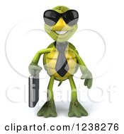 Clipart Of A 3d Business Tortoise Wearing Sunglasses Royalty Free Illustration