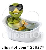 Clipart Of A 3d Tortoise Wearing Sunglasses And Sitting In A Tub With An Inner Tube Royalty Free Illustration