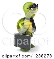Clipart Of A 3d Business Tortoise Wearing Sunglasses And Facing Right Royalty Free Illustration