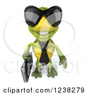 Clipart Of A 3d Business Tortoise Wearing Sunglasses And Smiling Up Royalty Free Illustration