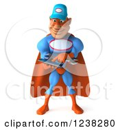 Clipart Of A 3d Super Hero Mechanic Using A Tablet Computer Royalty Free Illustration