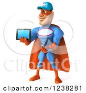 Clipart Of A 3d Super Hero Mechanic Holding A Tablet Computer 3 Royalty Free Illustration