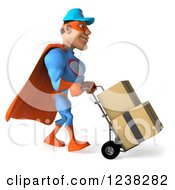 Clipart Of A 3d Super Hero Mechanic Moving Boxes On A Dolly 4 Royalty Free Illustration