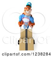 Clipart Of A 3d Super Hero Mechanic Moving Boxes On A Dolly 3 Royalty Free Illustration