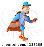 Clipart Of A 3d Super Hero Mechanic Walking With A Wrench 5 Royalty Free Illustration