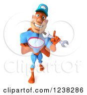 Clipart Of A 3d Super Hero Mechanic Walking With A Wrench 6 Royalty Free Illustration