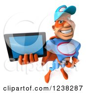 Clipart Of A 3d Super Hero Mechanic Holding A Tablet Computer Royalty Free Illustration