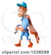Clipart Of A 3d Super Hero Mechanic Walking With A Wrench 4 Royalty Free Illustration