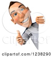 Clipart Of A 3d German Soccer Player Holding A Thumb Up Around A Sign Royalty Free Illustration