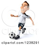 Clipart Of A 3d German Soccer Player In Action 2 Royalty Free Illustration