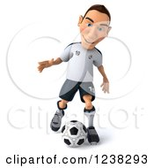 Clipart Of A 3d German Soccer Player In Action Royalty Free Illustration