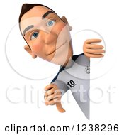 Clipart Of A 3d German Soccer Player Holding A Thumb Down Around A Sign Royalty Free Illustration