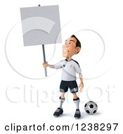 Clipart Of A 3d German Soccer Player Holding A Sign Royalty Free Illustration by Julos