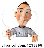 Clipart Of A 3d German Soccer Player Holding A Thumb Down Over A Sign Royalty Free Illustration
