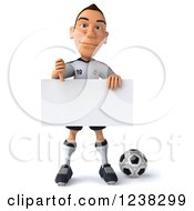 Clipart Of A 3d German Soccer Player Holding A Thumb Down And Sign Royalty Free Illustration