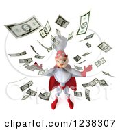 Clipart Of A 3d Male Super Chef And Raining Money Royalty Free Illustration