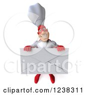 Clipart Of A 3d Male Super Chef Holding An Envelope 2 Royalty Free Illustration