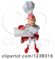 Clipart Of A 3d Male Super Chef Holding An Envelope 3 Royalty Free Illustration