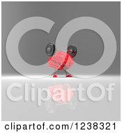 Clipart Of A 3d Red Brain Working Out With Barbells 3 Royalty Free Illustration