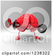 Clipart Of A 3d Red Brain Working Out With Dumbbells Royalty Free Illustration