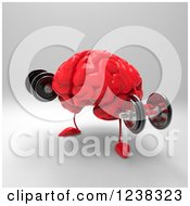 Clipart Of A 3d Red Brain Working Out With Dumbbells 2 Royalty Free Illustration