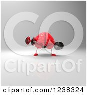 Clipart Of A 3d Red Brain Working Out With Dumbbells 3 Royalty Free Illustration