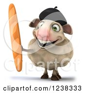 Clipart Of A 3d Happy French Sheep Holding Up French Bread Royalty Free Illustration