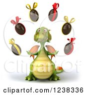 Clipart Of A 3d Green Dragon Juggling Chocolate Easter Eggs Royalty Free Illustration
