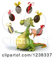 Clipart Of A 3d Green Dragon Juggling Chocolate Easter Eggs 2 Royalty Free Illustration