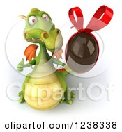 Clipart Of A 3d Green Dragon Holding A Chocolate Easter Egg And A Thumb Up Royalty Free Illustration