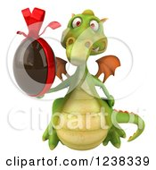 Clipart Of A 3d Green Dragon Holding A Chocolate Easter Egg Royalty Free Illustration