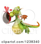 Clipart Of A 3d Green Dragon Flying With A Chocolate Easter Egg Royalty Free Illustration