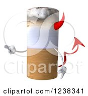 Clipart Of A 3d Devil Tobacco Cigarette Pointing Royalty Free Illustration by Julos