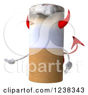 Clipart Of A 3d Devil Tobacco Cigarette Presenting Royalty Free Illustration by Julos