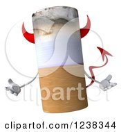 Clipart Of A 3d Devil Tobacco Cigarette Shrugging Royalty Free Illustration by Julos