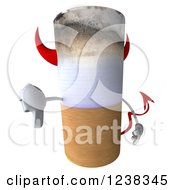 Clipart Of A 3d Devil Tobacco Cigarette Holding A Thumb Down Royalty Free Illustration by Julos
