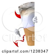 Clipart Of A 3d Devil Cigarette Holding A Thumb Down Around A Sign Royalty Free Illustration by Julos