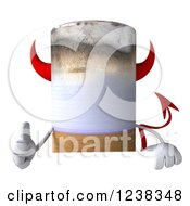 Clipart Of A 3d Devil Cigarette Holding A Thumb Up Over A Sign Royalty Free Illustration by Julos